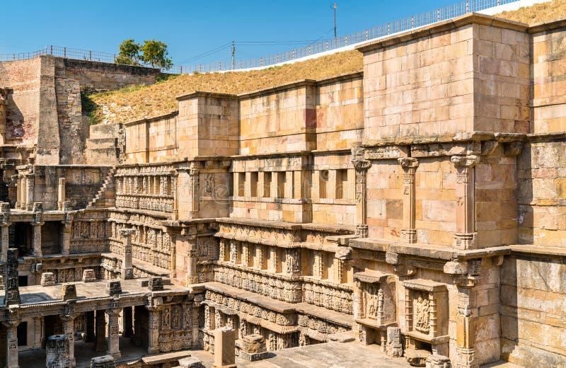 Rajas gemålkivav, en intricately konstruerad stepwell i Patan - Gujarat, Indien arkivfoto