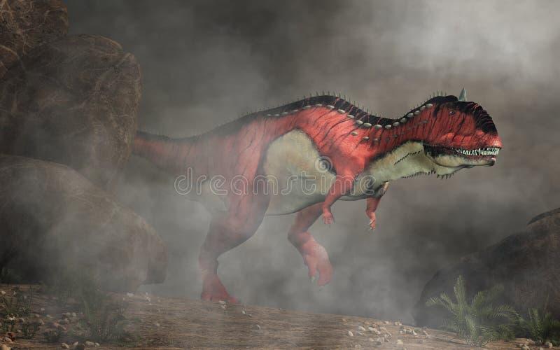 Rajasaurus in de mist stock illustratie