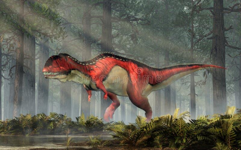 Rajasaurus in een Bos stock illustratie