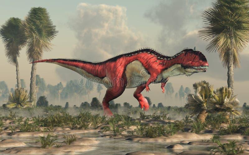 Rajasaurus in een Moerasland stock illustratie