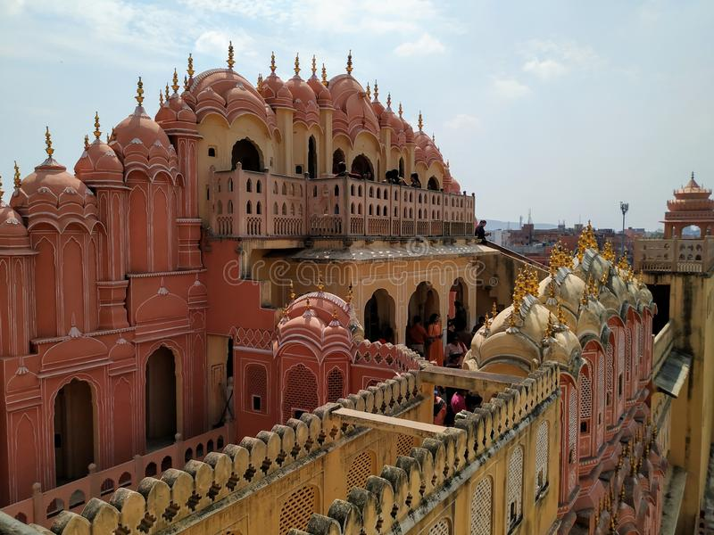 Rajasthan Jaipur the pink city. Rajasthan Jaipur known as the pink city . Scene of HAWA MAHAL royalty free stock photo