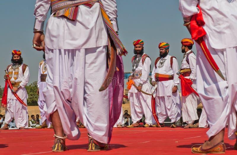 Rajasthan-Krieger während des Wettbewerbs Herrn Desert lizenzfreie stockfotos