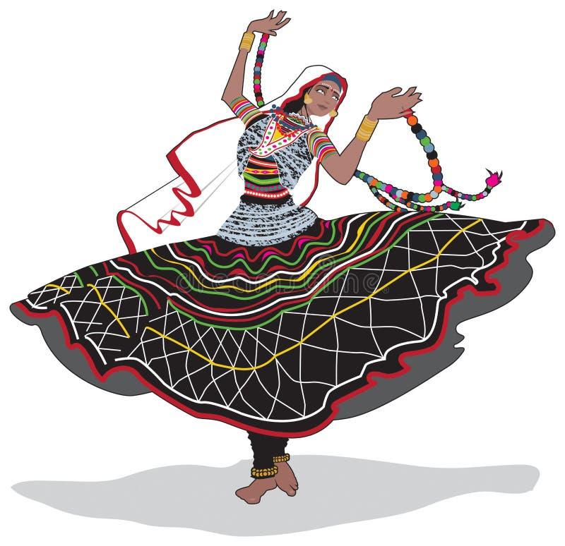 Rajasthani舞蹈家 库存例证