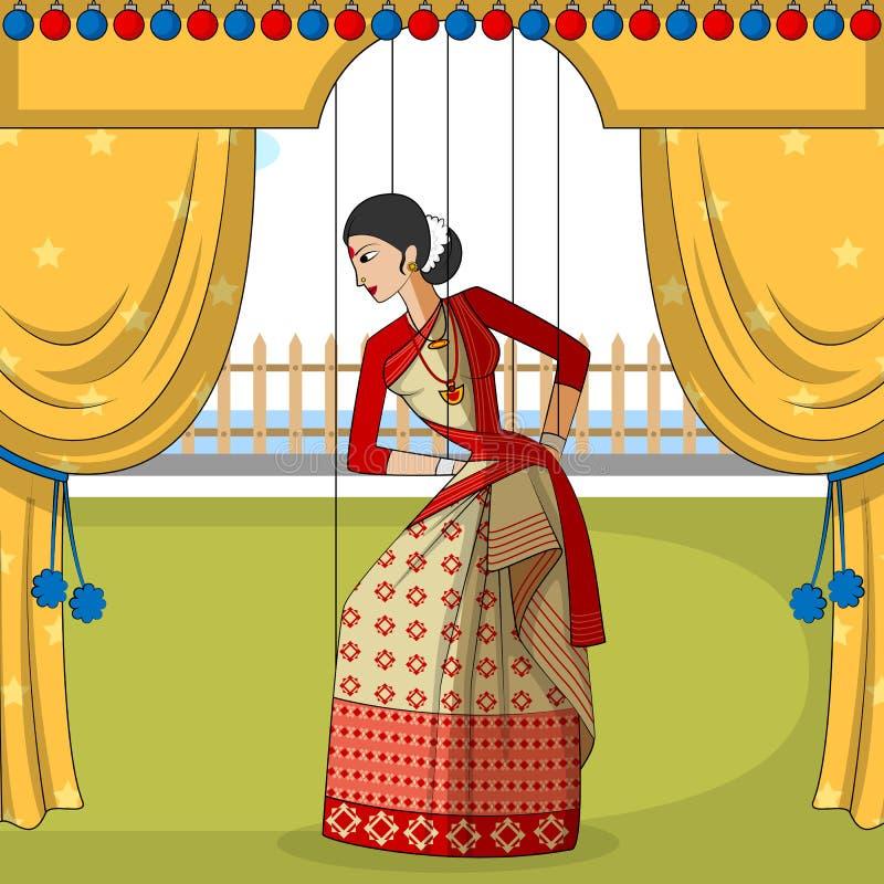 Rajasthani docka som gör den Bihu folkdansen av Assam, Indien royaltyfri illustrationer