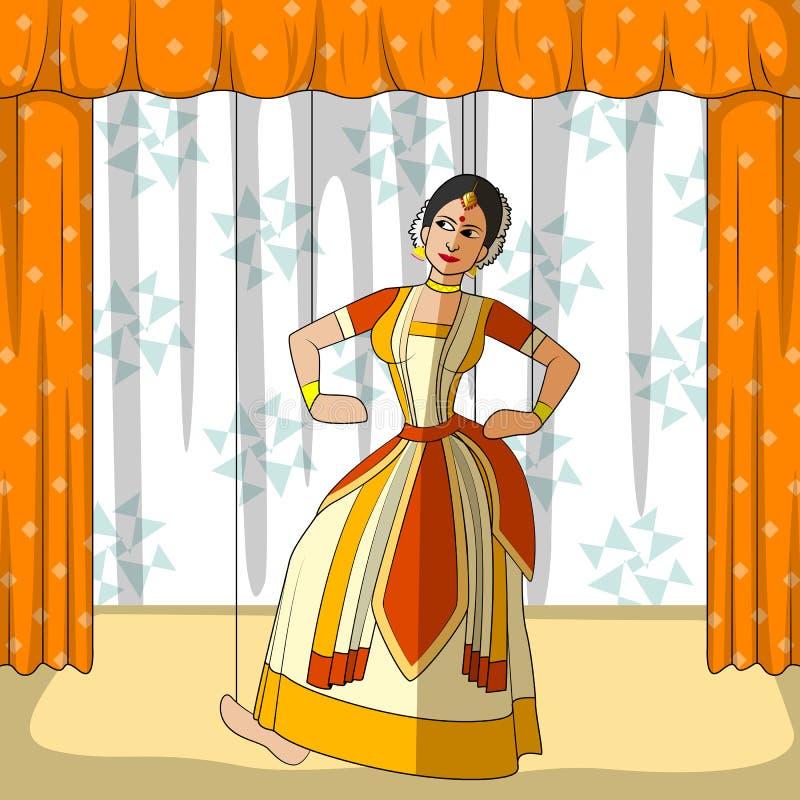 Rajasthani docka som gör Sattriya den klassiska dansen av Assam, Indien stock illustrationer