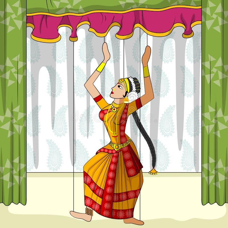 Rajasthani Kuchipudi Kukiełkowy robi klasyczny taniec Andhra Pradesh, India ilustracji