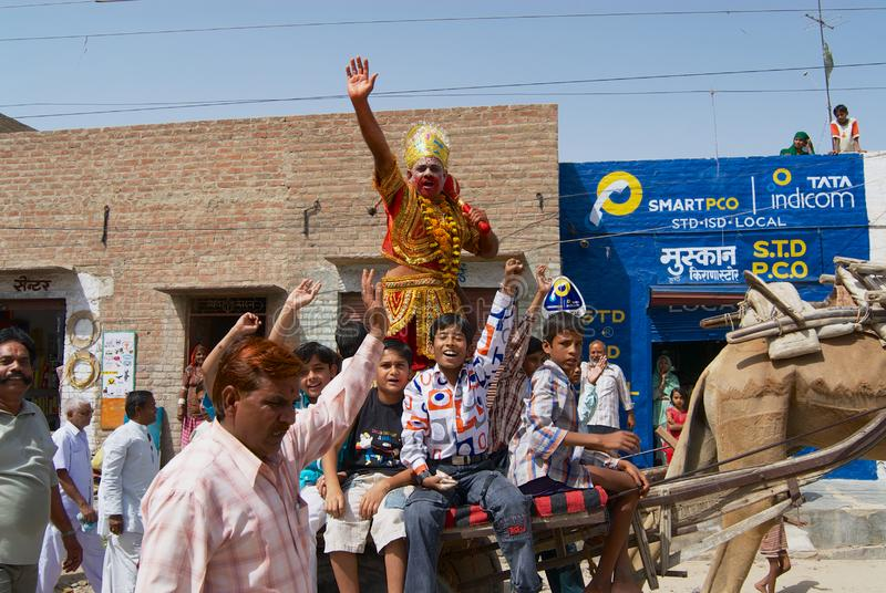 Rajasthani people take part in a religious procession in Bikaner, India. royalty free stock image