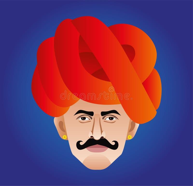 Rajasthani Rabari man close up stock illustration