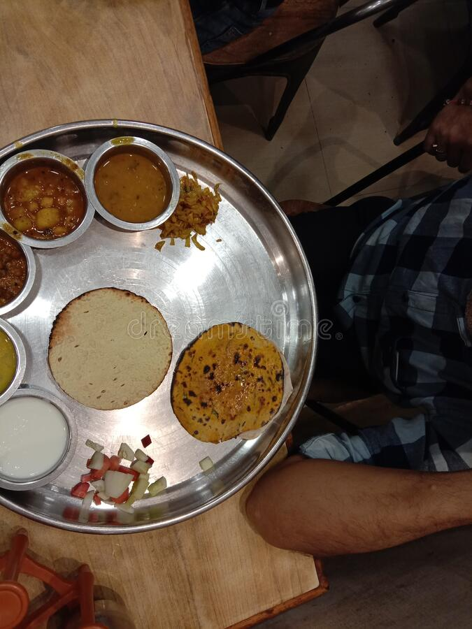 Rajasthani thali food served by hotel and restaurant 88 in Raipur India royalty free stock photos