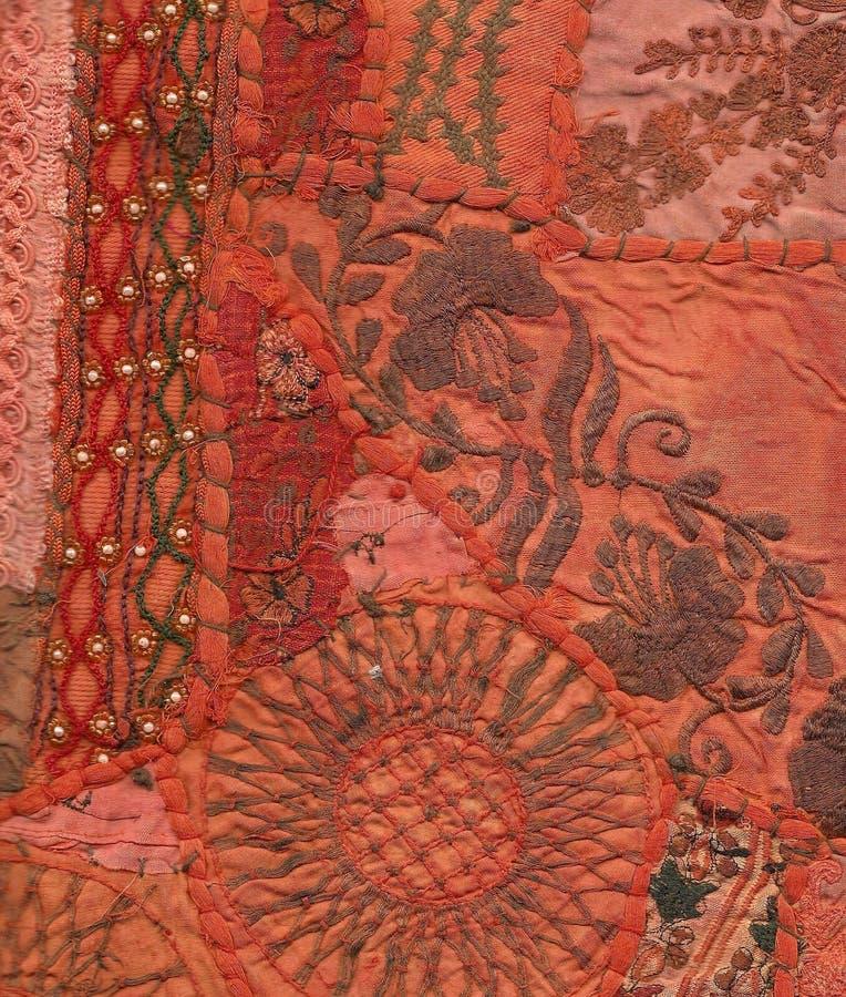 Rajasthani Wandhängen gebildet von gesteppten Saris stockfoto