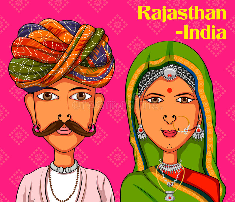 Rajasthanii Couple in traditional costume of Rajasthan, India royalty free illustration
