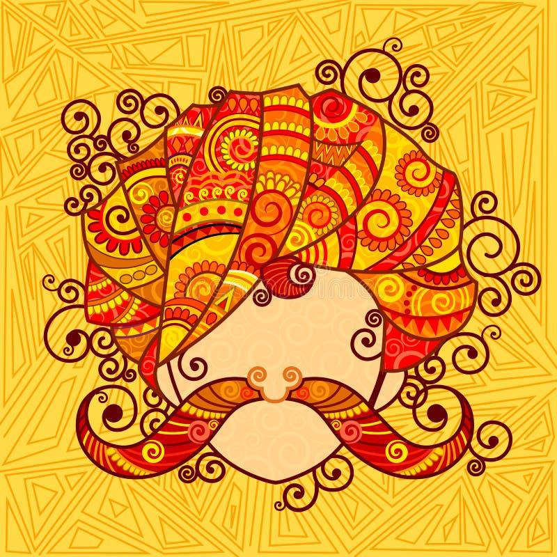 Rajasthanimens met tulband en snor royalty-vrije illustratie