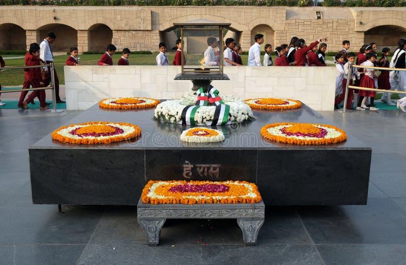 Rajghat, New Delhi Mémorial à l'endroit d'incinération de corps de Gandhis de mahatma, Delhi photographie stock