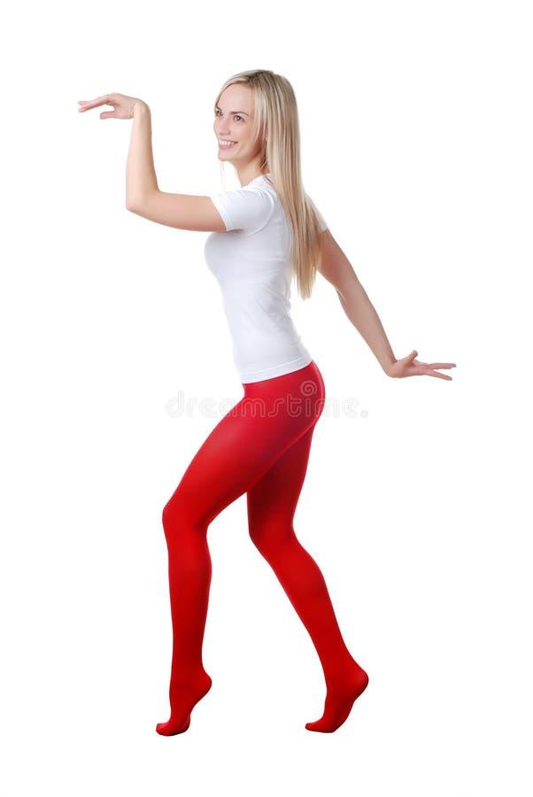 rajstopy czerwona kobieta obraz stock