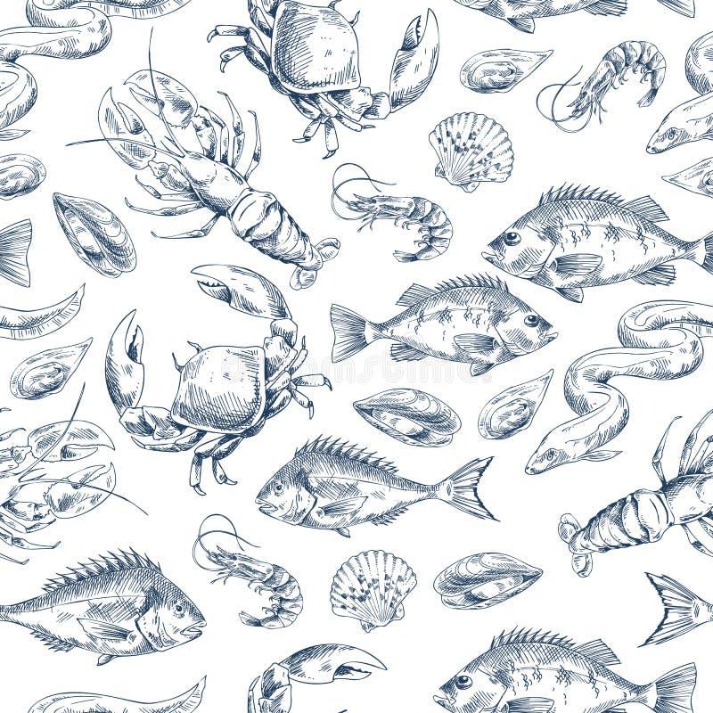 Raków i ryba nakreślenia wektoru ilustracja ilustracji