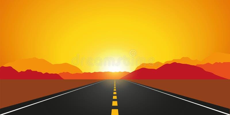 Rak asfaltväg i höst på soluppgångberglandskapet vektor illustrationer