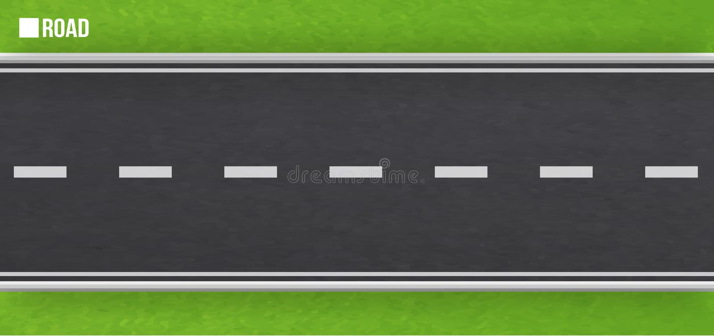 rak asfaltv?g vägbakgrund, asfalttextur restriktiva musikband, vägteckning, gräsplaner, gräs på vägrenen royaltyfri illustrationer