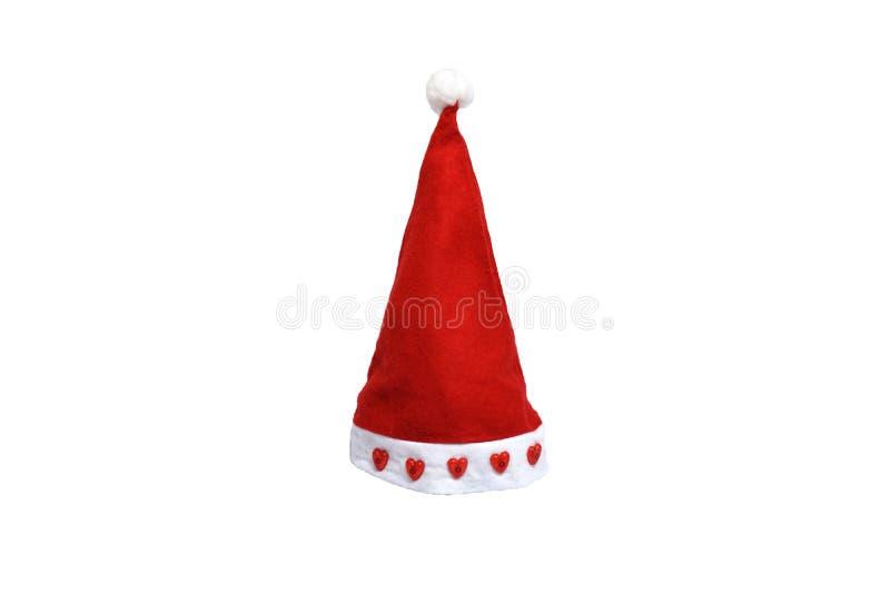 Rak santa hatt med röd hjärta på pälsen, festival för glad jul, isolerad vit bakgrund arkivbilder