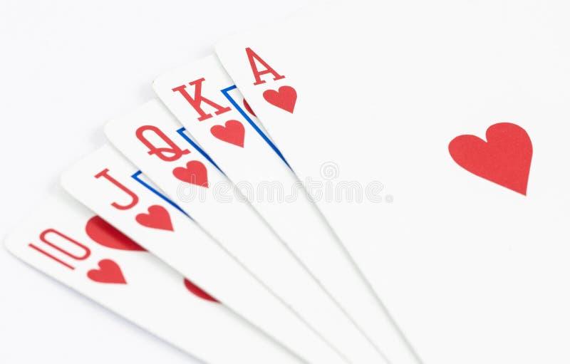 Rak spolning för hjärta som spelar kortet arkivbilder