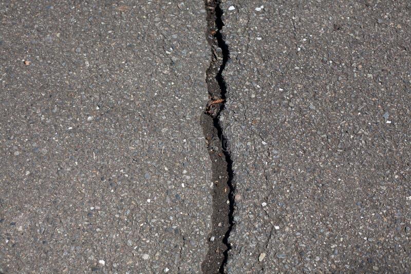 Rak spricka i asfaltväg royaltyfri bild