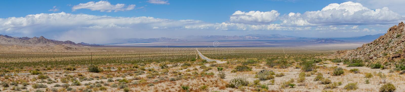 Rak väg nästa Joshua Tree Park för ändlös öken fotografering för bildbyråer