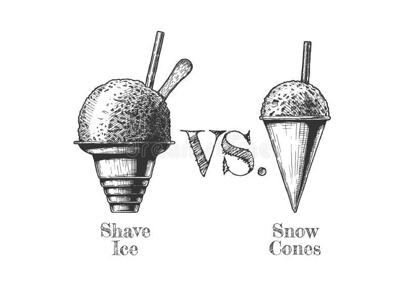 Rakad snö och rakad is royaltyfri illustrationer