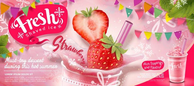 Rakade annonser för jordgubbe is stock illustrationer