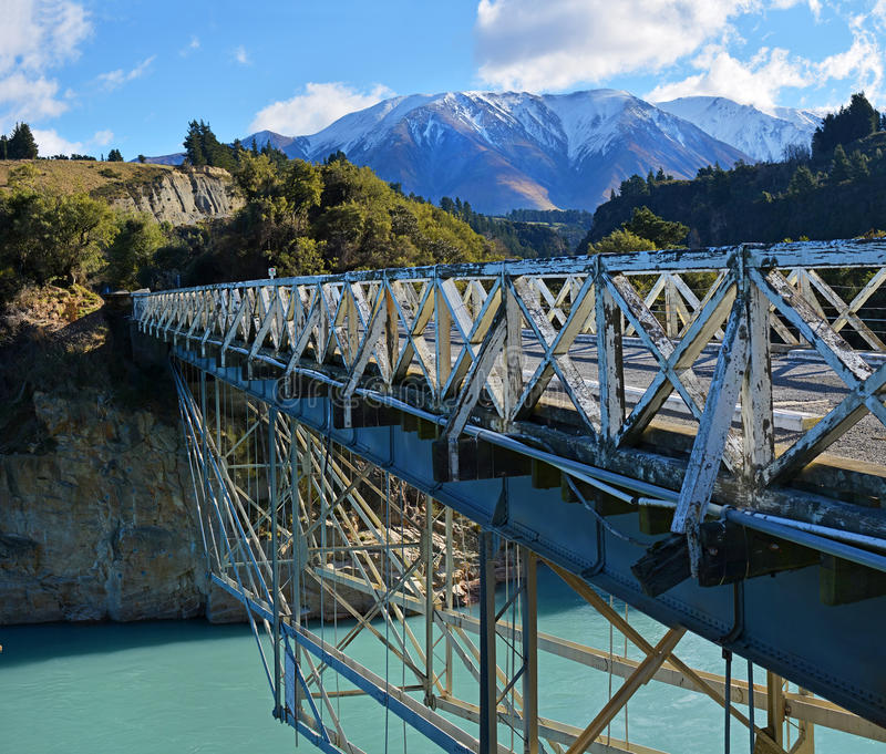 Rakaia Gorge Wooden Bridge, Mid Canterbury, New Zealand. Historic Rakaia Gorge Wooden Bridge crossing the Rakaia River in Mid Canterbury, New Zealand stock photography