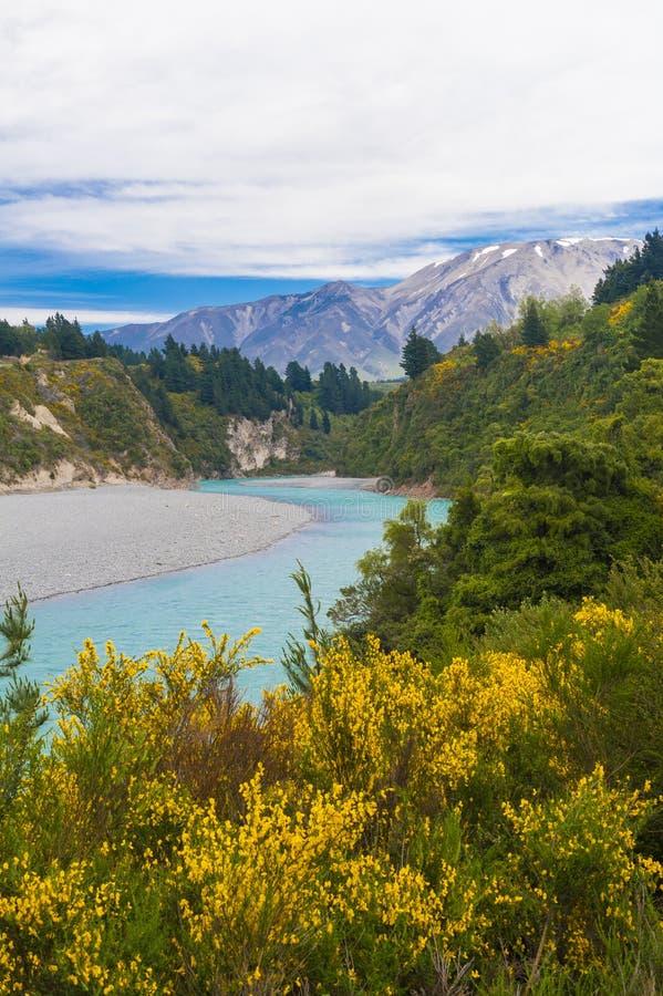 Rakaia-Schlucht und südliche Alpen lizenzfreie stockbilder