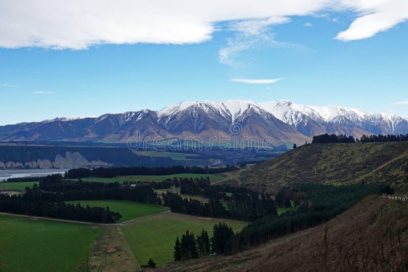 Rakaia wąwozu krajobraz w zimie w Nowa Zelandia fotografia royalty free