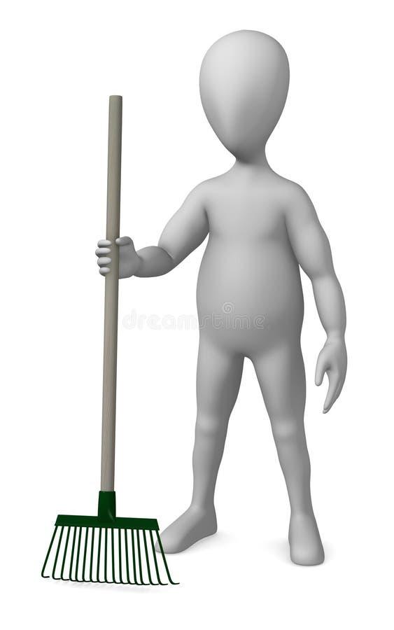 Rake. 3d render of cartoon character with rake stock illustration