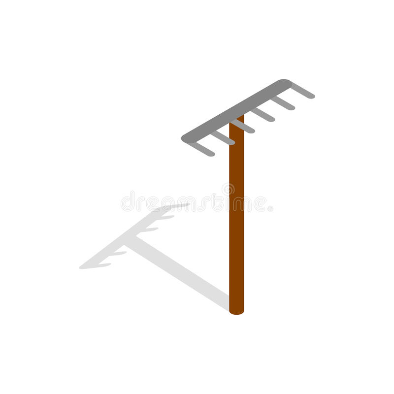 Rake icon, isometric 3d style. Rake icon in isometric 3d style isolated on white background. Tools for cleaning symbol vector illustration