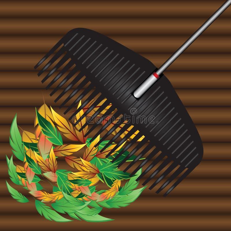 Download Rakes and fallen leaves stock vector. Illustration of rake - 32718293