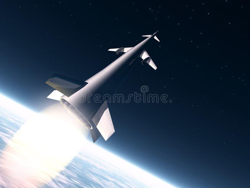 Raket aan de maan royalty-vrije illustratie