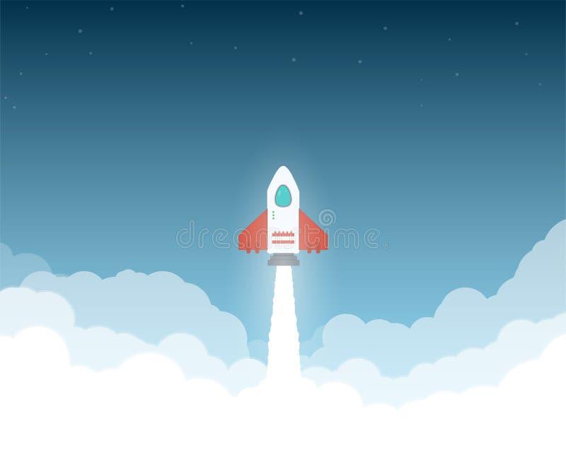 Raket aan de ruimtewolken stock illustratie