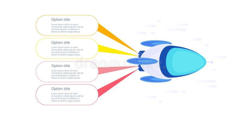Raket bedrijfs infographic stapgrafiek Startlancering grafisch e vector illustratie