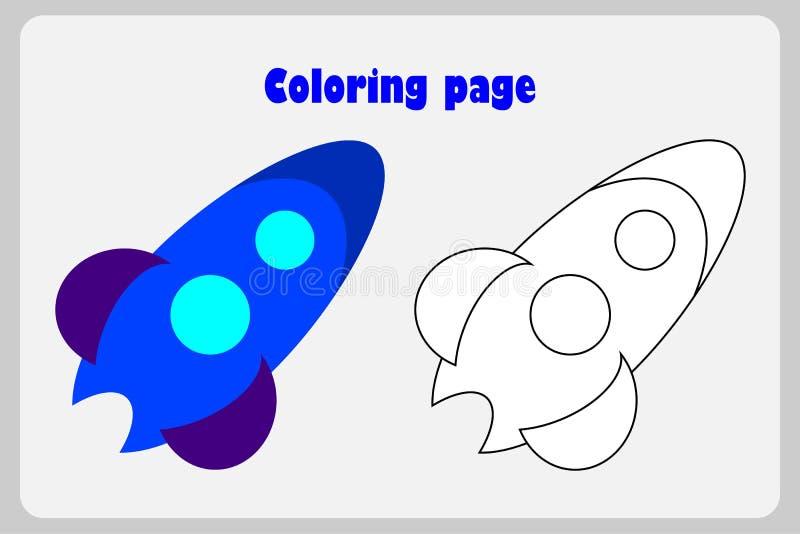 Raket in beeldverhaalstijl, kleurende pagina, onderwijsdocument spel voor de ontwikkeling van kinderen, voor het drukken geschikt vector illustratie