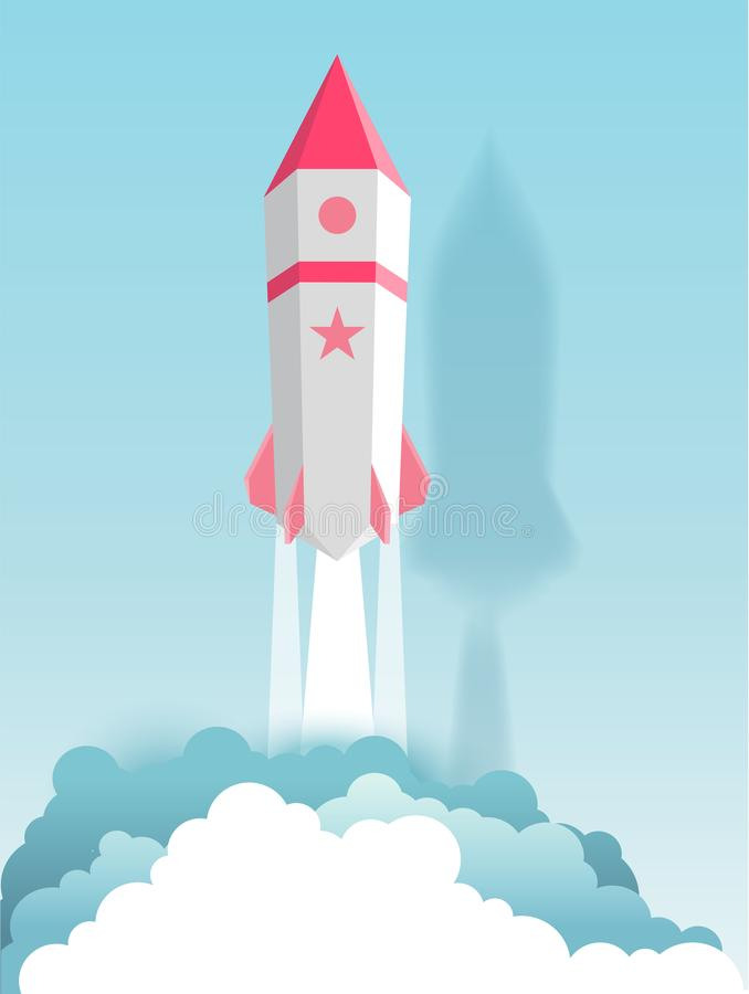Raket, bol, wolk, hemel, document kunststijl met pastelkleur stock illustratie