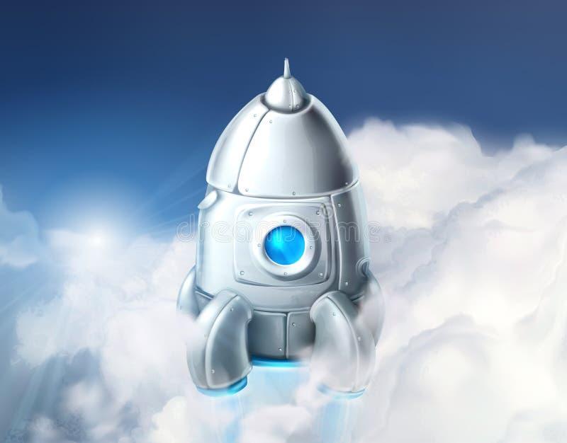 Raket in de bewolkte hemel stock illustratie