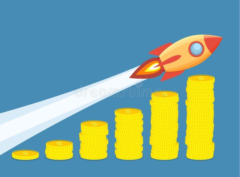 Raket die omhoog op de grafiek van de muntstukkengroei vliegen vector illustratie