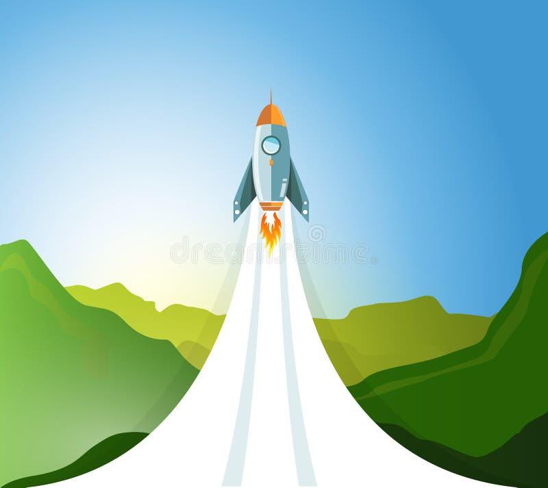 raket die van een groen berglandschap vliegen stock illustratie