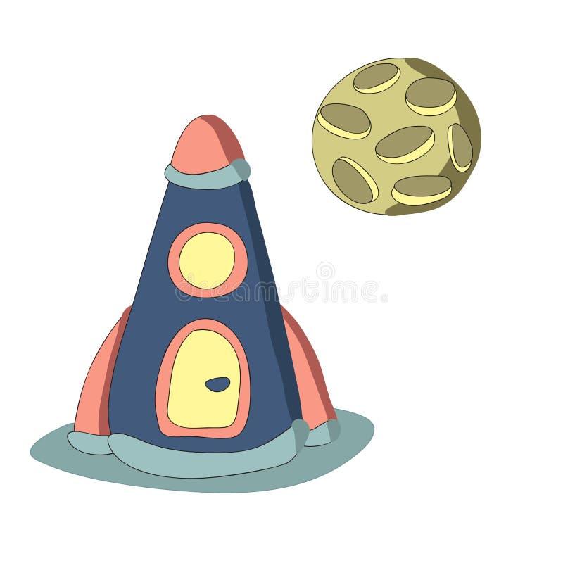 Raket en de planeet, vector geïsoleerde illustratie in eenvoudige stijl royalty-vrije illustratie