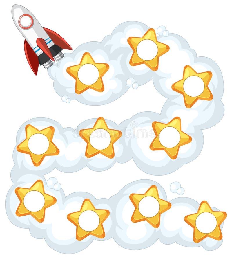 Raket en sterren in een formaat van de madeliefjeketting voor wiskunde of aantekenvel vector illustratie