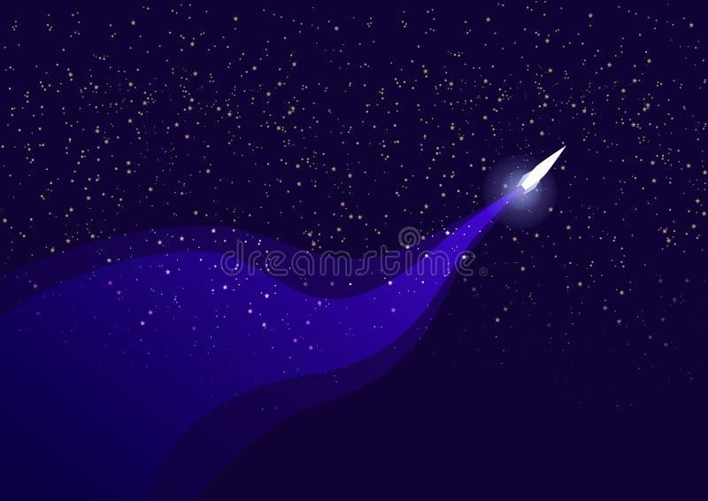 raket flyger i utrymme och lämnar en slinga mot stjärnorna vektor illustrationer
