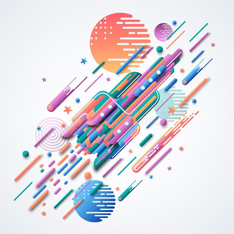 raket Futuristisk vektorbild Abstrakt bild 3D av en raket Ljusa krökta geometriska former vektor illustrationer