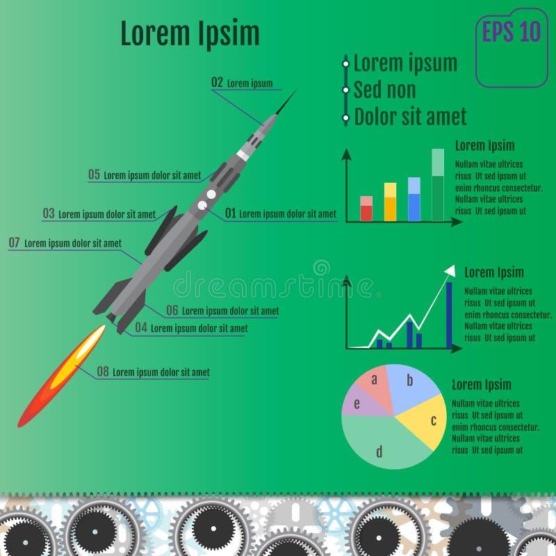 Raket infographic concept Vector stock illustratie