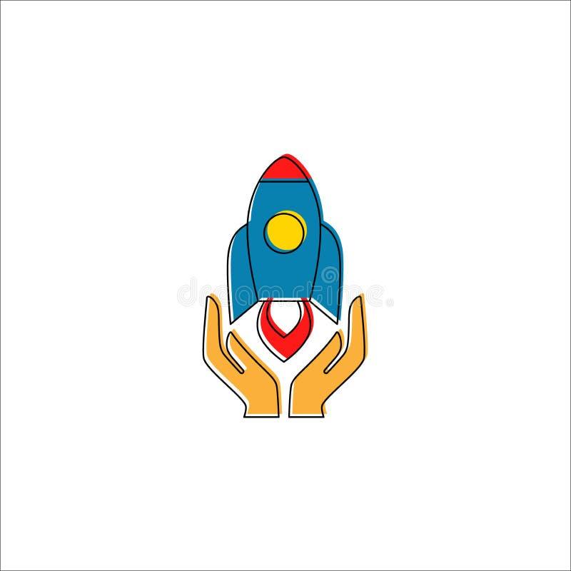Raket met handen die vector kleurrijk beeldverhaal met editable lijn lanceren royalty-vrije illustratie