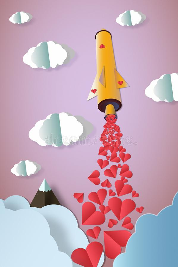 Raket met heel wat hartenlancering aan de kleurrijke hemel Het concept van de liefde royalty-vrije stock foto