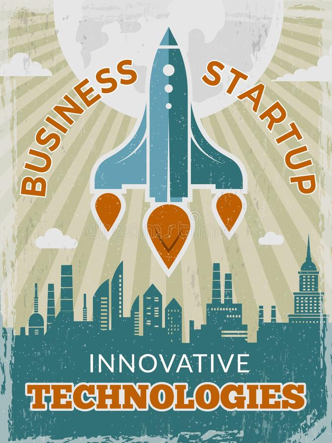Raket retro affiche Opstarten van bedrijvenconcept met pendel of ruimteschip uitstekend creatief ruimtejaren '40 vectoraanplakbil stock illustratie
