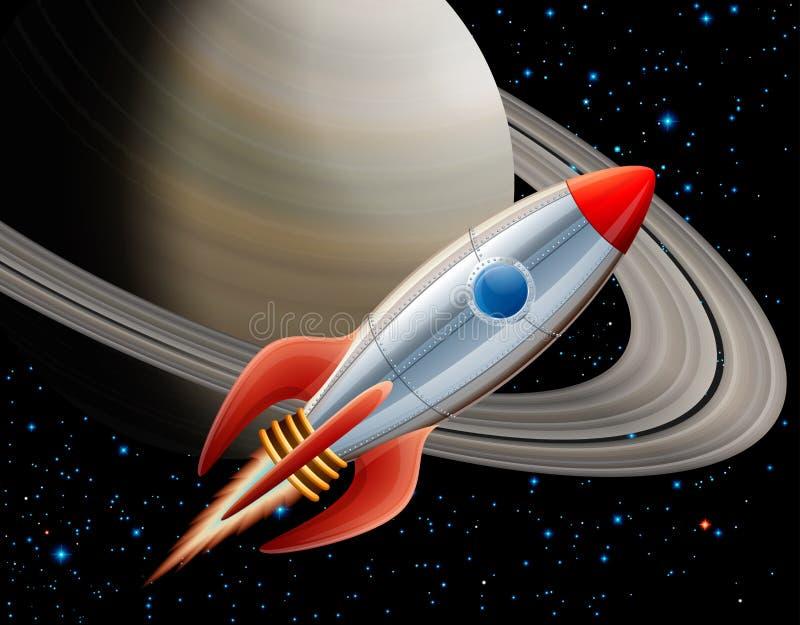 Raket in ruimte royalty-vrije illustratie